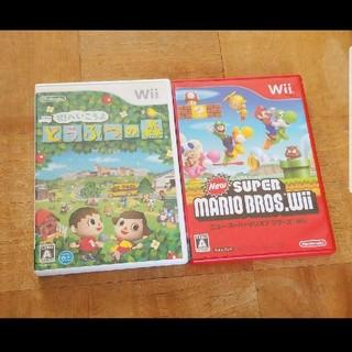 Wii - Wii スーパーマリオブラザーズ どうぶつの森 ソフト