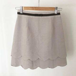 ネットディマミーナ(NETTO di MAMMINA)の台形スカート スカラップ ベージュ(ミニスカート)