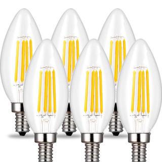 新品シャンデリア電球E17口金 蝋燭型 LED電球40w(6個入り)(天井照明)