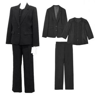 『新品』(15号)ウール100%★ブラックフォーマルパンツスーツ3点セット(礼服/喪服)