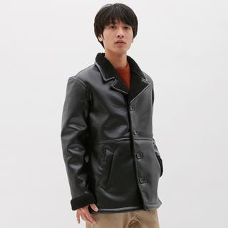 ジーユー(GU)の新品未使用 GU ムートンジァケット  メンズハーフコート レザージャケット(ダウンジャケット)