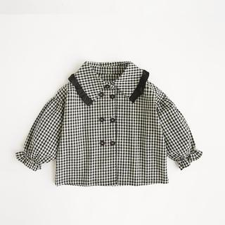 韓国子供服 ギンガムチェックブラウス(ブラウス)