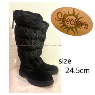 エミュー(EMU)の【新品】SKECHERS 撥水 ボア ブーツ 黒 ロングブーツ ダウン(ブーツ)