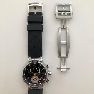 ルイヴィトン(LOUIS VUITTON)のルイヴィトン タンブール 腕時計用 Dバックル 純正品 SS シルバー(レザーベルト)