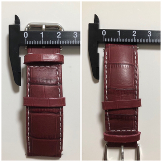 GPF イタリア製 腕時計用革ベルト 22mm アリゲーター型押し ブラウン(レザーベルト)