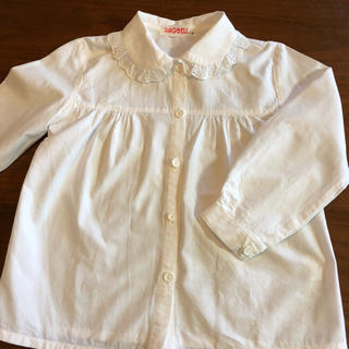 女の子用 白長袖ブラウス 110 日本製(ブラウス)