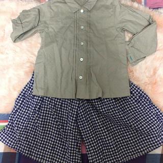 フェリシモ(FELISSIMO)の110サイズシャツとキュロットスカートのセット(ブラウス)