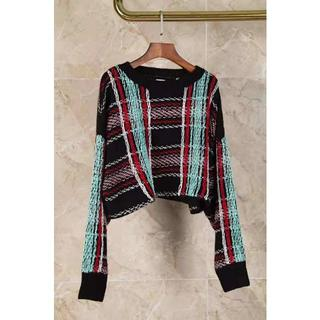 クリスチャンダダ(CHRISTIAN DADA)のCHRISTIAN  DADAフラワーラインのチェック柄のセーター(ニット/セーター)