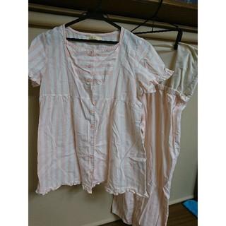 半袖 ピンク×白ボーダーマタニティパジャマ(マタニティパジャマ)