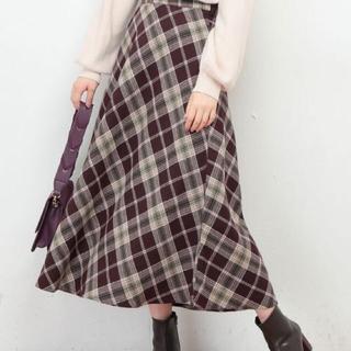 ナチュラルクチュール(natural couture)のビックチェックバイヤススカート  専用(ひざ丈スカート)