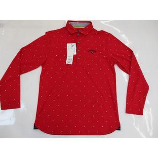 キャロウェイゴルフ(Callaway Golf)のキャロウェイ ラウンデルプリント 鹿の子 長袖シャツ カラー:レッド L(ウエア)