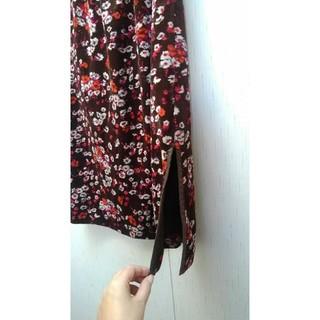 スーパーハッカ(SUPER HAKKA)の【新品】日本製 スーパーハッカ スカート ベロア 花柄 冬用(ひざ丈スカート)