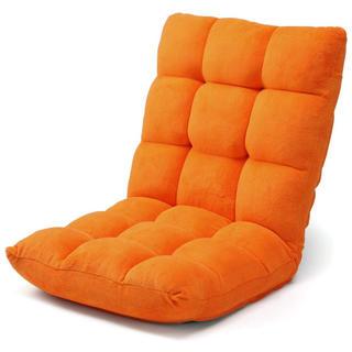 ふわふわフロアチェア42段階調整 幅50㎝ オレンジ(座椅子)