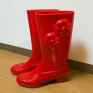 シャネル(CHANEL)のシャネル レインブーツ レッド (レインブーツ/長靴)
