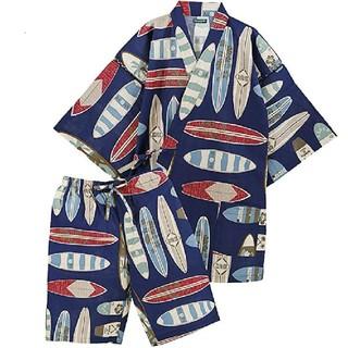 カラフル 甚平 ブルー メンズ Lサイズ(浴衣)