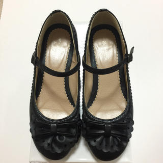 イノセントワールド(Innocent World)のハートスカラップシューズ ブラック L 靴(ハイヒール/パンプス)