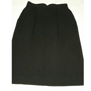 ノーベスパジオ(NOVESPAZIO)のストレッチウールスカート  ノーベスパジオ 黒(ひざ丈スカート)
