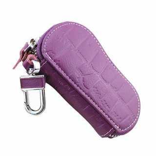 【カラビナ付】本革★スマートキーケース♪ラウンドファスナー 紫色 z100605(キーケース)