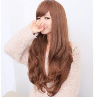 ★ふわふわ巻き髪★ ウィッグ ロングカール 可愛い ブラウン 他カラー有(ロングカール)