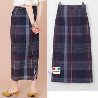 KBF+ カラーチェックタイトスカート ネイビー
