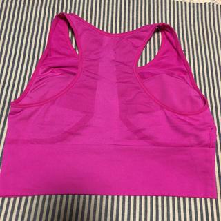 ジーユー(GU)のGU スポーツブラ ピンク&グレー Lサイズ(トレーニング用品)