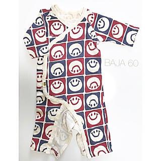 バハ(BAJA)の長袖 ロンパース 肌着 60 ニコちゃん オシャレ 個性的 男女兼用(ロンパース)