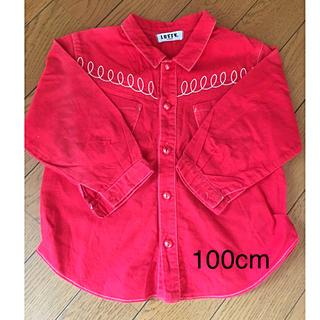 ラスティ(RUSTY)の【LUSTY】キッズ シャツ 赤 100cm  日本製 女の子 男の子(ブラウス)