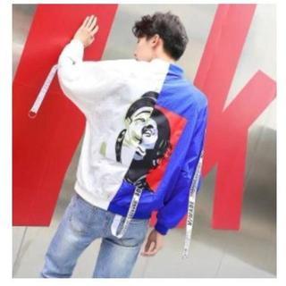 大人気★ホワイト/ブルー ピエロジャケット MA-1 韓国 ストリート系 M(その他)