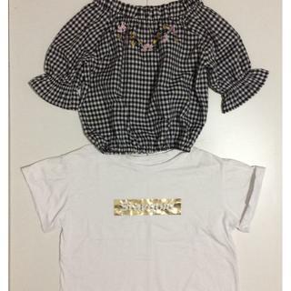 キッズトップス2点セット半袖ブラウス& Tシャツ140ホワイトブラック(ブラウス)