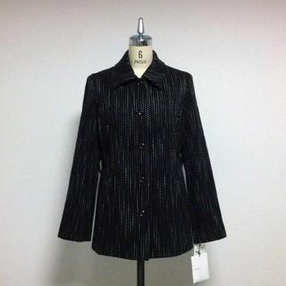 レディース ウールコート 黒 ストライプ刺繍 ベルト付き 11号 タグ付 未使用(その他)