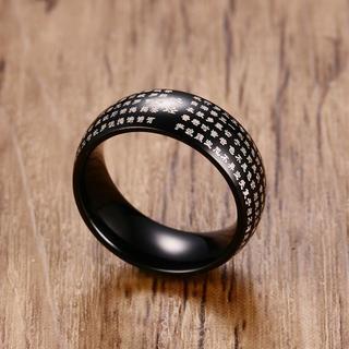 般若心経 お経 ブラック リング 指輪 18号(リング(指輪))