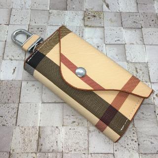 チェック柄 キーケース フック式 6連 カードポケット付き オシャレ(キーケース)
