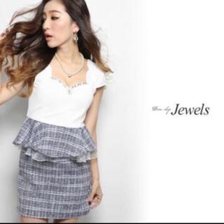 ジュエルズ(JEWELS)の【jewels】♡ツイード ペプラム ネイビー キャバワンピ(ナイトドレス)