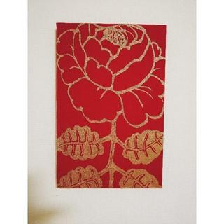 マリメッコ(marimekko)のマーライスルース  紅色地金色  マリメッコファブリックパネル (ファブリック)