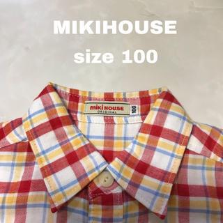 ミキハウス(mikihouse)の《美品》MIKIHOUSE チェック 長袖シャツ 100(ブラウス)