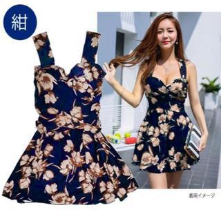 『新品』5L(大きいサイズ)紺にベージュ花柄の可愛いワンピース水着(水着)