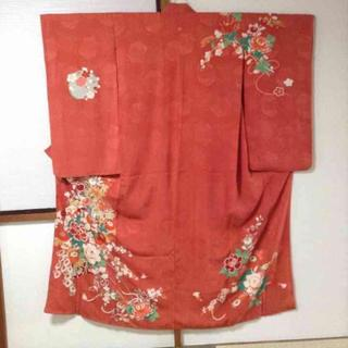 アンティーク着物 ♡濃桃色地牡丹菊梅橘模様一つ紋付正絹中振袖(振袖)