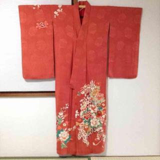 【確認用】アンティーク♡濃桃色地牡丹菊梅橘模様一つ紋付正絹中振袖(着物)