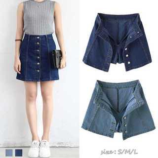 『激安販売』 デニムスカート パンツ付き 台形スカート ミニスカート (ミニスカート)