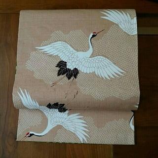 京袋帯 名古屋帯 長尺「鶴 市松抹茶」(帯)
