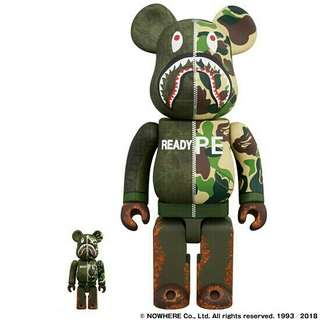 A BATHING APE - BE@RBRICK x READYMADE x APE 400% 100% 2体