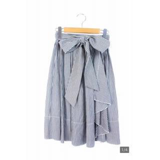 デイシー(deicy)の【美品】リボン付きミディ丈スカート ストライプ柄 グレー(ひざ丈スカート)