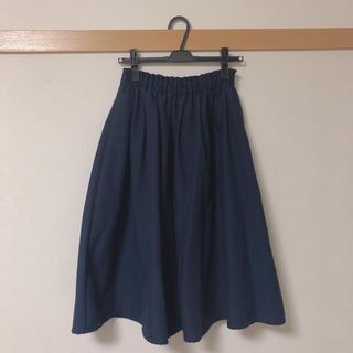 ジーユー(GU)のロングスカート  フレアスカート  ネイビー(ロングスカート)