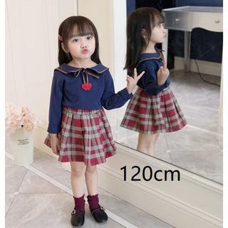 即納!海外子供服☆リボンブラウス+チェックスカートセットアップ120cm(13)(ブラウス)