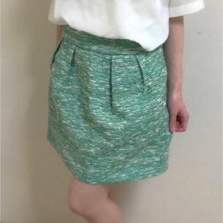 ザラ(ZARA)のZARA ザラ グリーン ツイード コクーンスカート(ミニスカート)