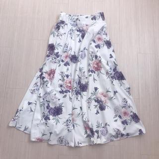 アンデミュウ(Andemiu)のアンデミュウ 花柄 フレア ロング スカート フラワー パープル(ロングスカート)