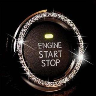 激安!エンジンスタートプッシュボタン リング 装飾デコ スワロフスキー シルバー(車内アクセサリ)