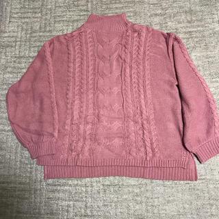 ケーブルハイネックセーター