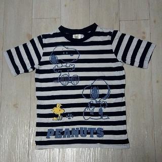 スヌーピー(SNOOPY)の5.スヌーピー 白紺ボーダー レディース Tシャツ Mサイズ  半袖(Tシャツ(半袖/袖なし))