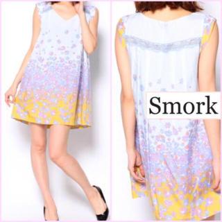 スモーク(Smork)のsmork✽完売品✽オリジナルフラワーグラデーションワンピース✽blue (ミニワンピース)